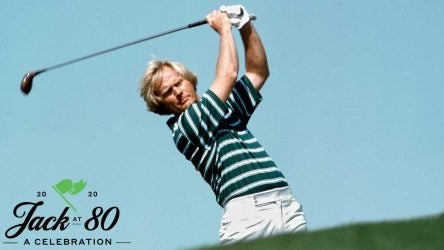 Jack Nicklaus watches a shot during a tournament.