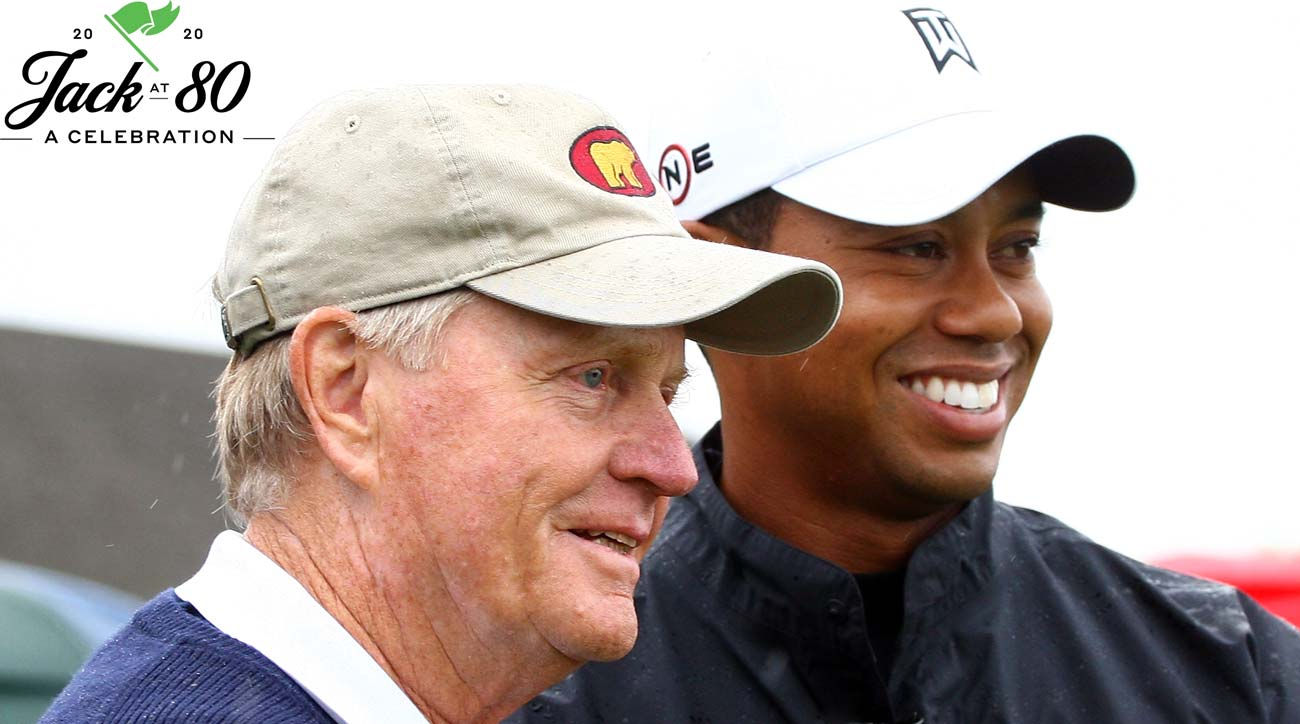 Jack Nicklaus and Tiger Woods pose together at the Memorial Tournament.