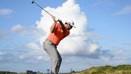 Jon Rahm tees off at The Open Championship.