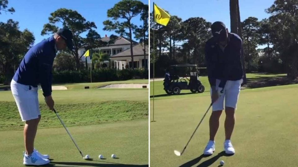 PGA Tour pro Luke Donald chips off a putting green in a recent Instagram post.
