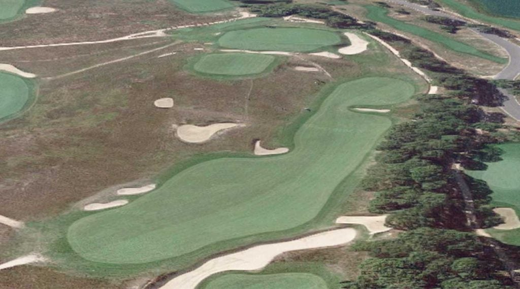If you get over the bunker on your drive you are in luck, but the approach from here isn't easy either.