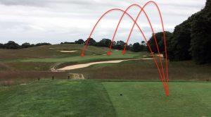 The tee shot presents multiple risk-reward options.