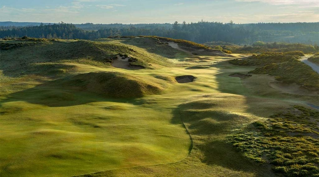 The 16th hole at Old Macdonald at Bandon Dunes is modeled after an Alps template.