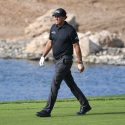 Phil Mickelson walks down the fairway during the opening round of the Saudi International on Thursday.