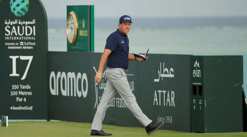 Phil Mickelson pictured during the 2020 Saudi International tournament.