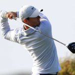 Rory McIlroy tees off during the second round of the Farmers Insurance Open. McIlroy is four under after 36 holes.