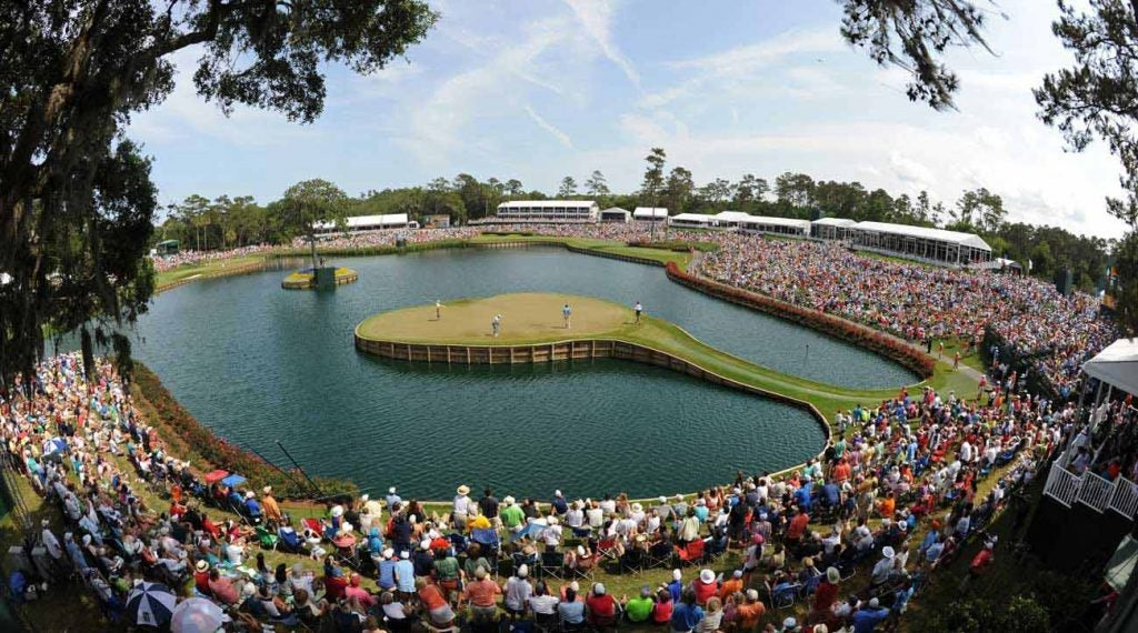 A view of the island green 17th at TPC Sawgrass, a Pete Dye design.