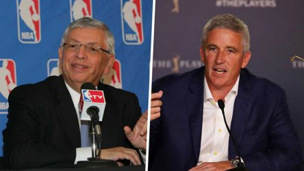 Late NBA commissioner David Stern, left, and PGA Tour commissioner Jay Monahan.