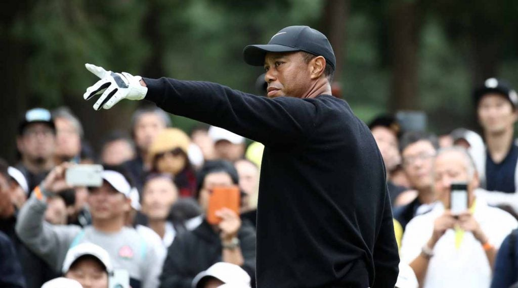 Tiger Woods during his most recent Tour start at the Zozo Championship, which he won.