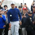 Tiger Woods watches a chip during the third round of the 2020 Farmers Insurance Open