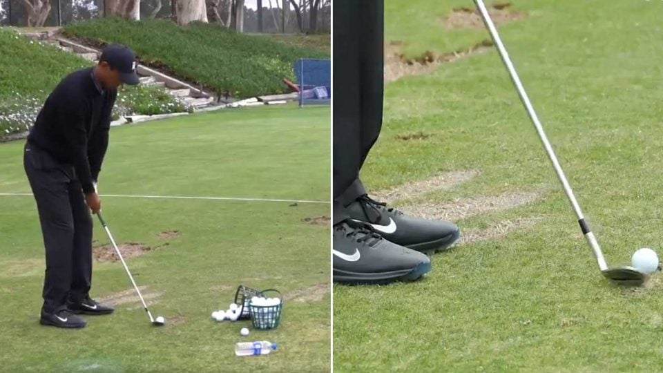 Tiger Woods hits on the range before the 2020 Farmers Insurance Open.