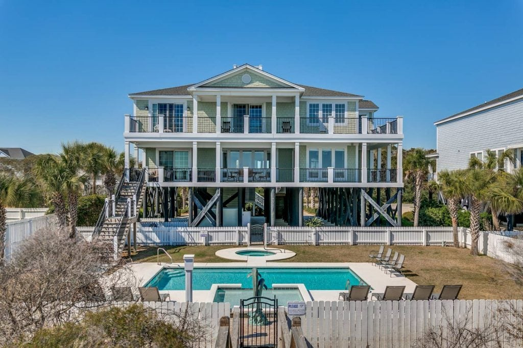 Large vacation home with a swimming pool in Myrtle Beach, South Carolina.