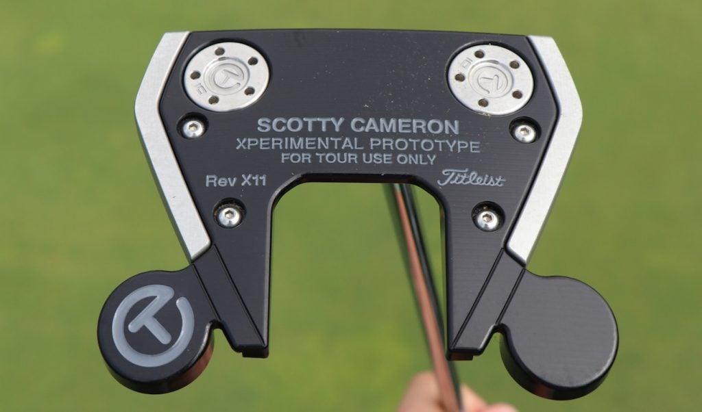 A closeup of Adam Scott's Xperimental prototype putter.