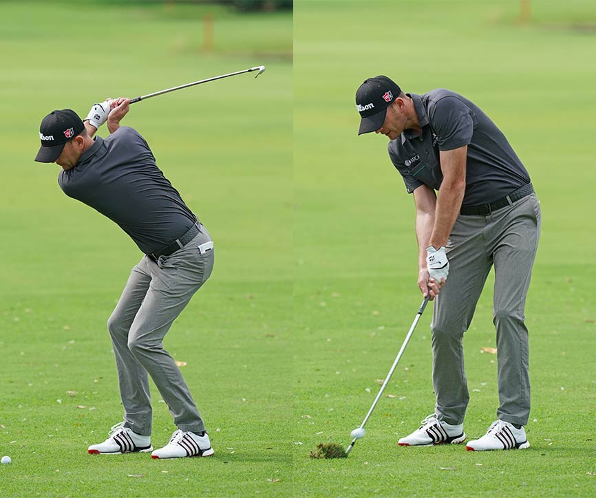 Brendan Steele squats throughout his swing, using the ground to generate power.