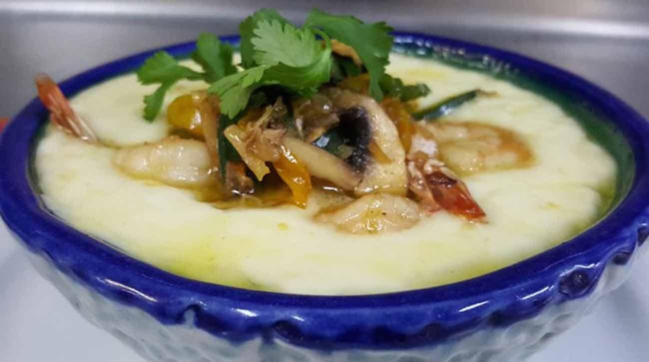 Grand Isla Navidad's cheesy shrimp dip is the ultimate poolside snack