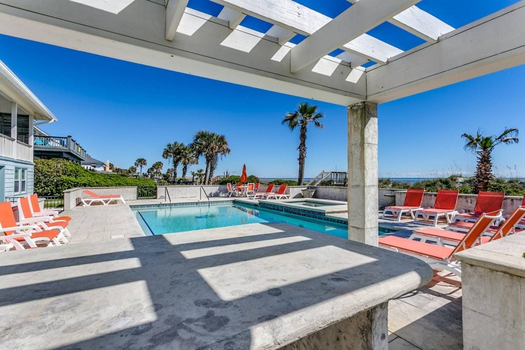 Large pool area at a Myrtle Beach, South Carolina vacation home.