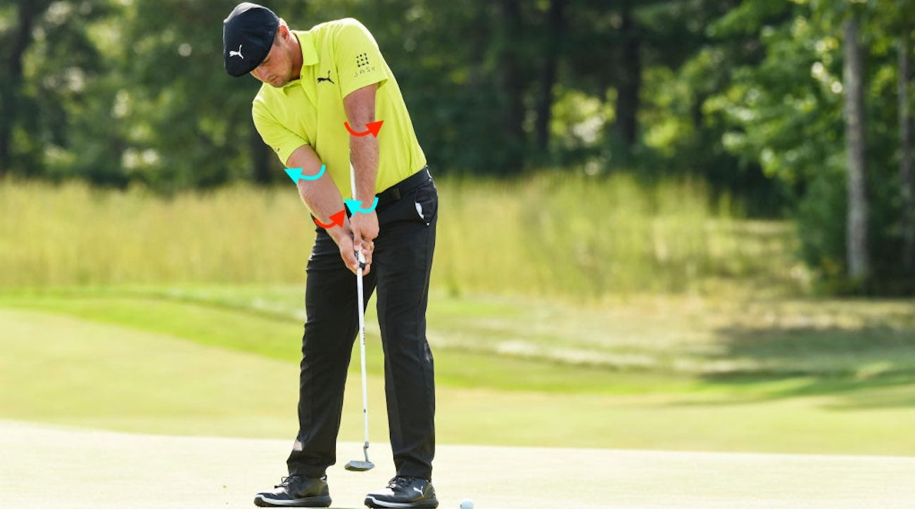 NORTON, MA - SEPTEMBER 02: Bryson DeChambeau putts on the 15th hole green during the third round of the Dell Technologies Championship at TPC Boston on September 2, 2018 in Norton, Massachusetts. (Photo by Keyur Khamar/PGA TOUR)