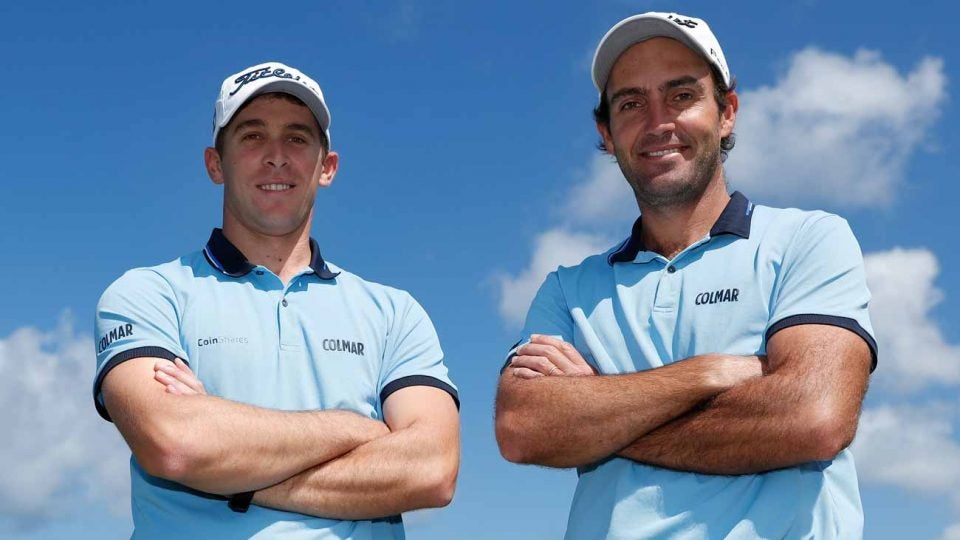 Lorenzo Gagli, left, and Edoardo Molinari were forced to withdraw from the European Tour's Oman Open as they are being quarantined to determine whether they have the coronavirus.
