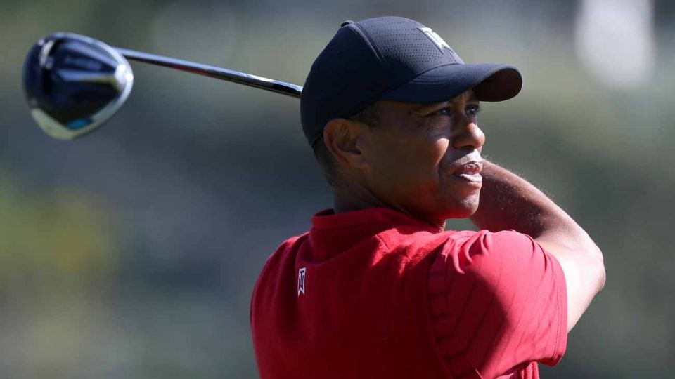 Tiger Woods hits a drive during last week's final round of the Genesis Invitational.