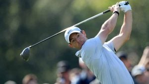 Rory McIlroy tees off during Saturday's third round of the Genesis Invitational.