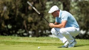 Bryson DeChambeau thinks about a putt during Saturday's third round of the WGC Mexico Championship.