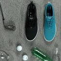 ECO Knit shoes with plastic bottles, golf balls, and a golf club