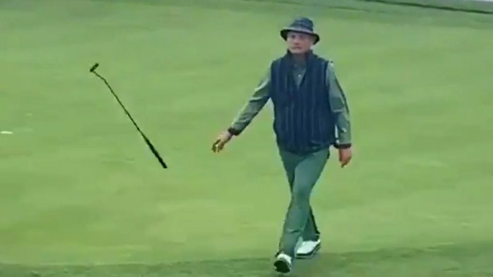 Bill Murray flips his putter after sinking an illegal putt at the AT&T National Pebble Beach Pro-Am