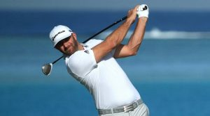 Dustin Johnson tees off during the Saudi International.