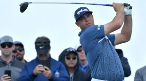Gary Woodland tees off at the Farmers Insurance Open.