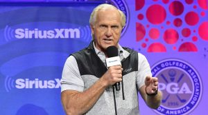 Greg Norman talks during a town hall at the PGA Show.
