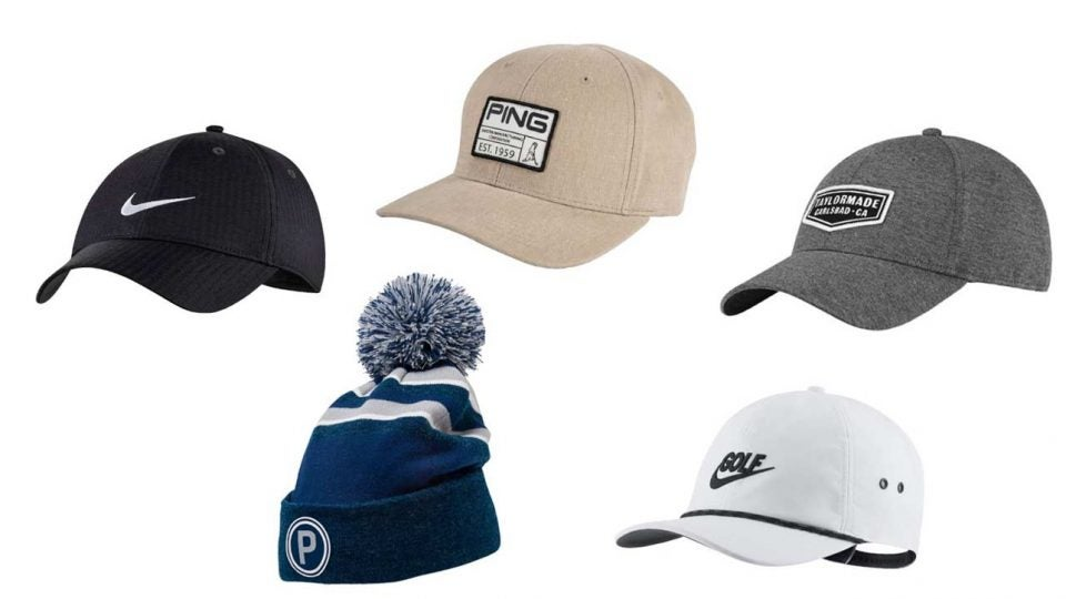 A sampling of the hats on sale at The Golf Warehouse.