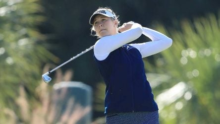Jessica Korda makes a swing at the CME Group Tour Championship.