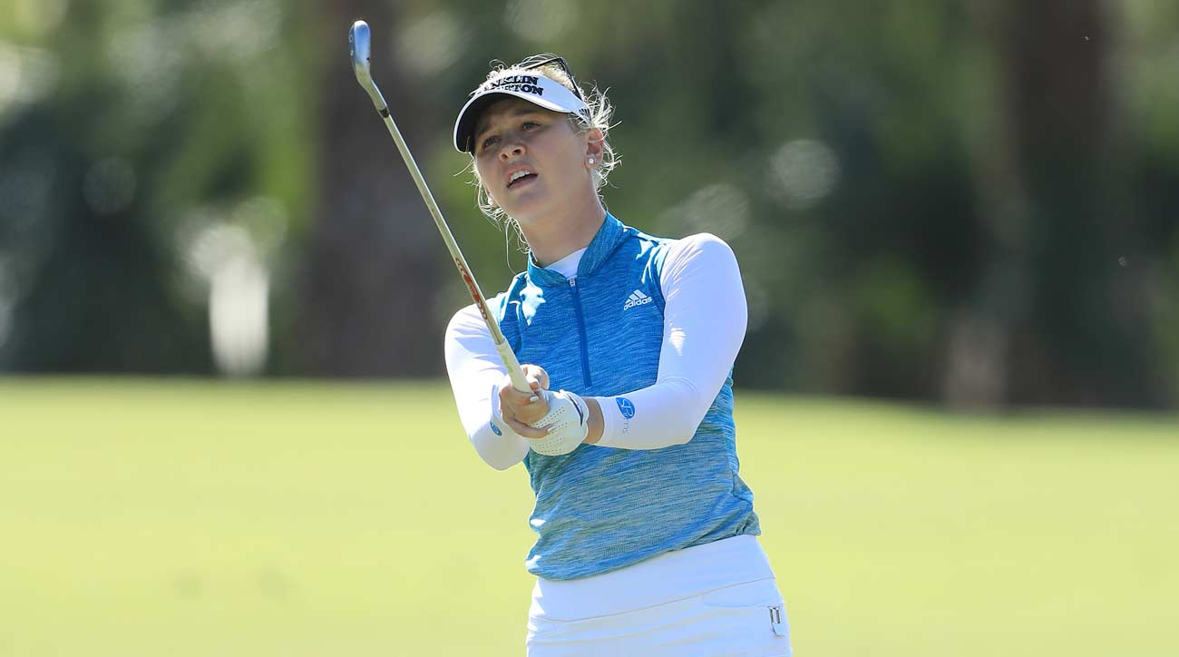 Jessica Korda finishes her swing at the CME Group Tour Championship.