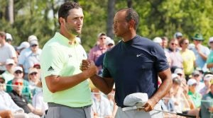 Jon Rahm and Tiger Woods at the 2019 Masters.