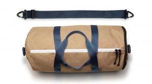 Sand colored Jones varsity duffle bag
