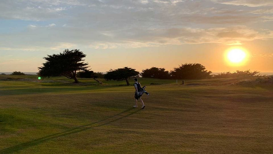 An evening stroll for the author and his long-time bag through the back nine at Pacific Grove on the Monterey Peninsula in June 2019.