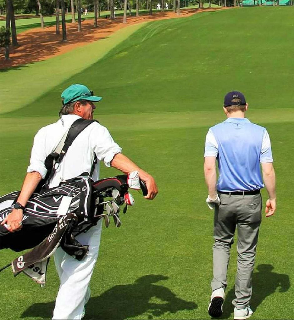 Playing Augusta National was a big day for the author and his bag, the latter given a tour of the grounds via a club caddie.