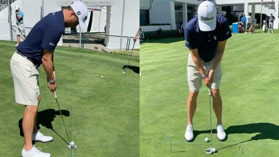 Justin Thomas practicing his putting
