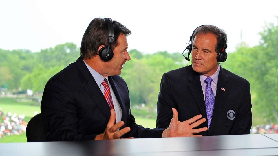 Nick Faldo, left, and Jim Nantz in the booth for CBS Sports.