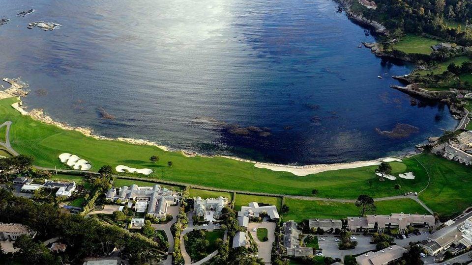 The 18th hole at Pebble Beach Golf Links.