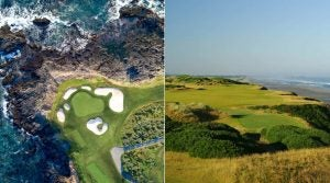 The 7th hole at Pebble Beach and Pacific Dunes (right)