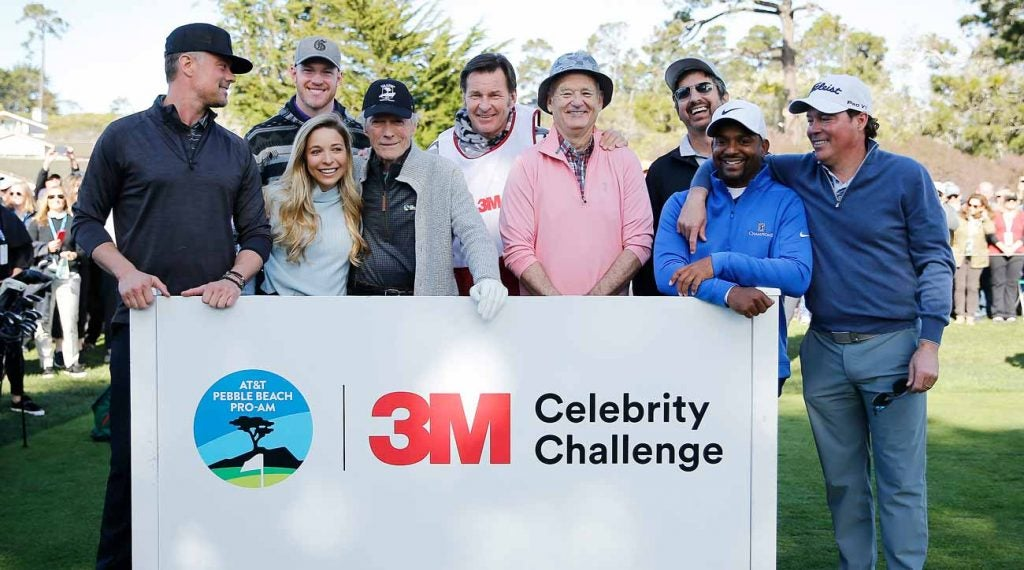 Actor Josh Duhamel, Kyle Rudolph of the Minnesota Vikings, Golf Channel host Kira Dixon, actor Clint Eastwood, Sir Nick Faldo, actor Bill Murray, actor Ray Romano, actor Alfonso Ribeiro, and music artist Clay Walker at the 2020 AT&T Pebble Beach Pro-Am.