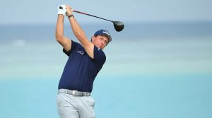 Phil Mickelson watches a tee shot at the Saudi International..