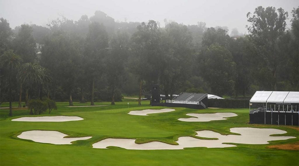 Riviera Country Club's par-4 10th hole offers plenty of options off the tee, but not executing could result in disaster.