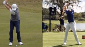 Rory McIlroy swinging golf clubs