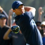 Rory McIlroy hits a tee shot at the Genesis Invitational.