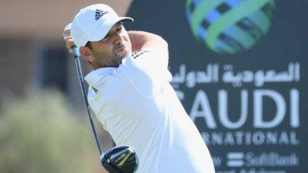 Sergio Garcia finishes his swing at the Saudi International.