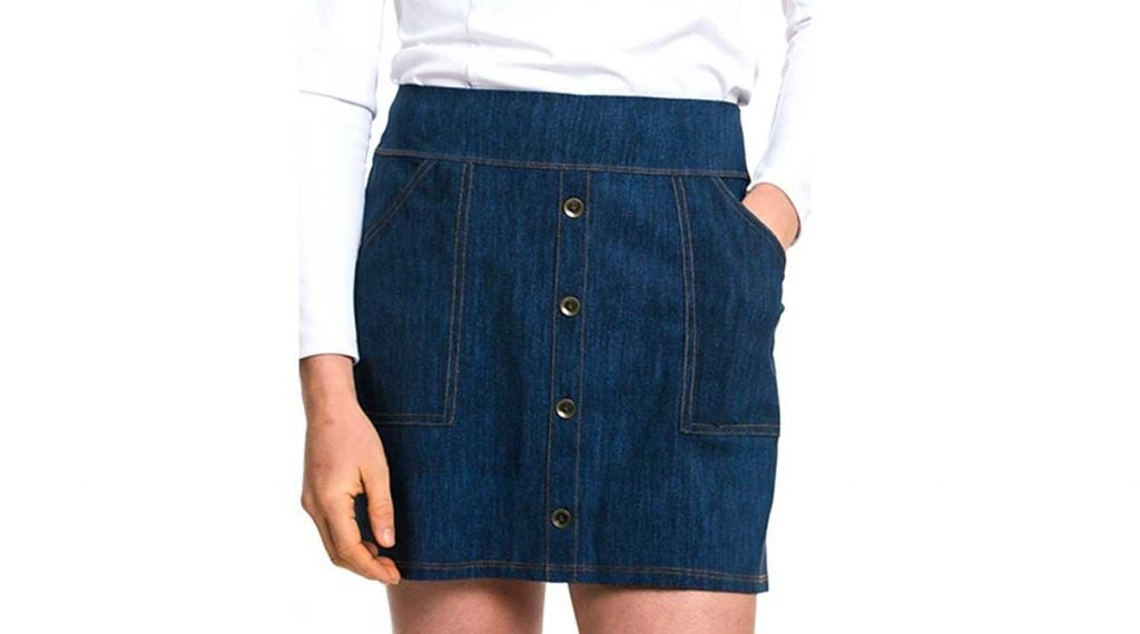 While this skirt looks like denim, it's actually made from Foray Golf's proprietary moisture-wicking raw material, which is perfect for the golf course.