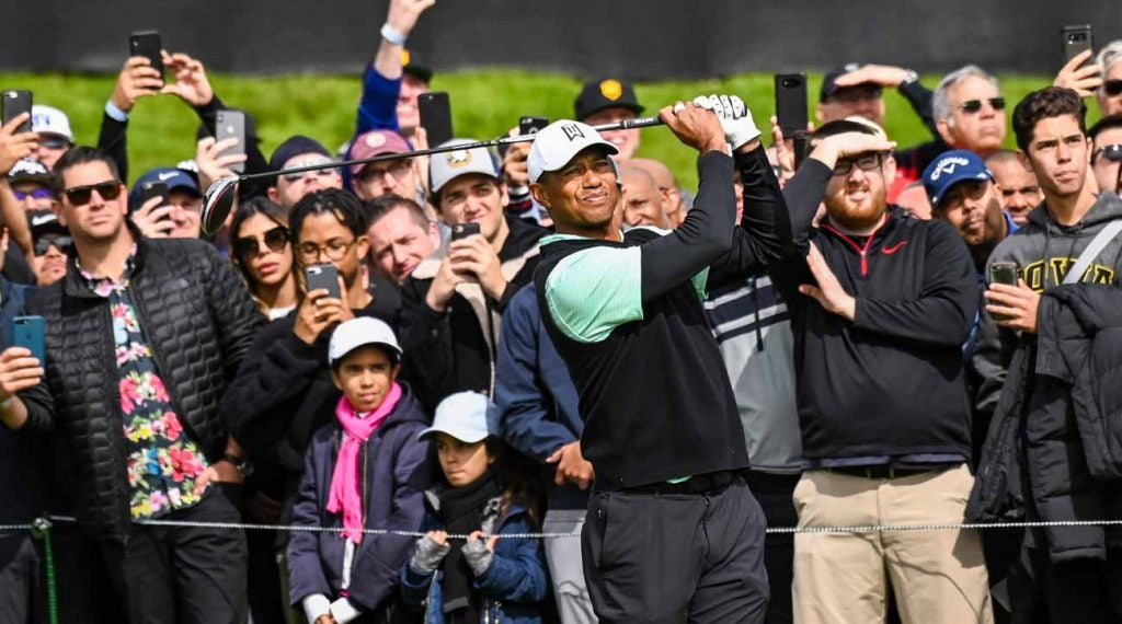 Tiger Woods tees off during the 2019 Genesis Open (now the Genesis Invitational).
