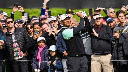 Tiger Woods tees off during the 2019 Genesis Open (now the Genesis Invitational)